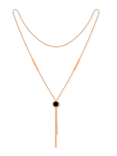 Fashion Little Black Round Rose Gold Plated Sweater Chain