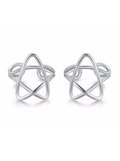 Simple Hollow Star 925 Sterling Silver Clip on Earrings