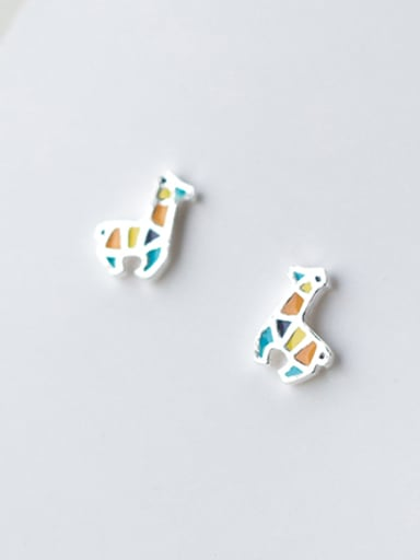 Colorful Deer Shaped Glue S925 Silver Stud Earrings