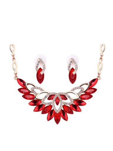Alloy Rose Gold Plated Fashion Marquise Stones Two Pieces Jewelry Set