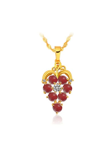 Copper Alloy 24K Gold Plated Classical Artificial Gemstone Necklace
