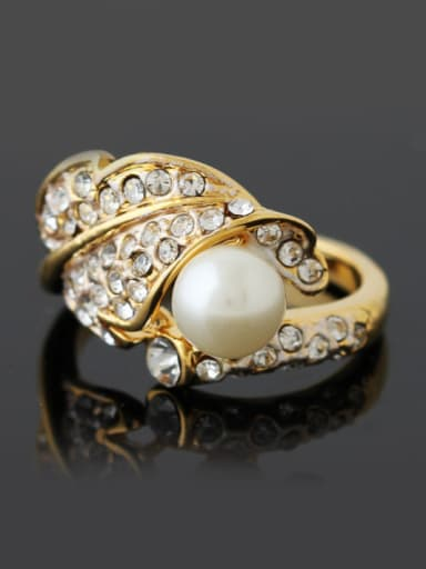 Fashion Gold Plated Artificial Pearl Rhinestones Alloy Ring