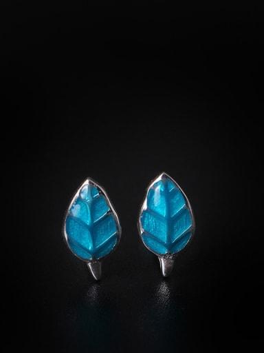 Blue Fresh Leaves-shape stud Earring