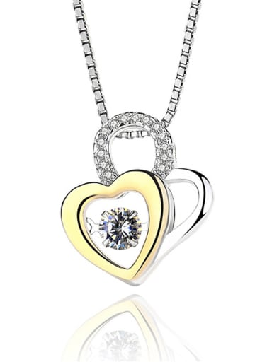 Fashion Rotatable Cubic Zirconias Heart Lock 925 Silver Pendant