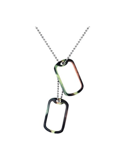 Men Personality Tag Shaped Titanium Silicon Necklace