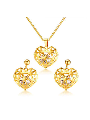 Luxury Gold Plated Hollow Heart Zircon Two Pieces Jewelry Set