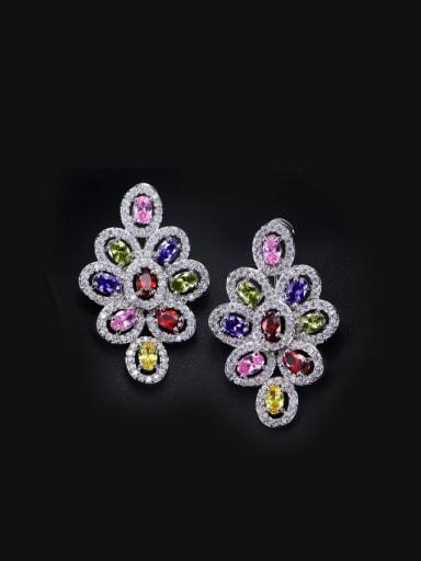Luxurious Color Zircons Drop Cluster earring
