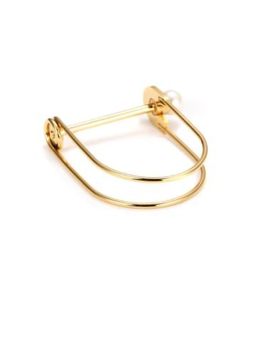 Fashion U Shaped Titanium Steel Pearl Bracelet