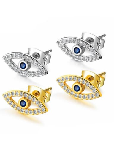 Stainless Steel With 18k Gold Plated Personality Evil Eye Stud Earrings