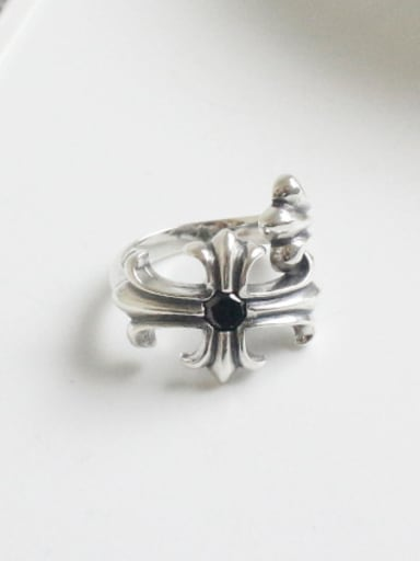 Retro style Little Cross Black Zircon Silver Ring