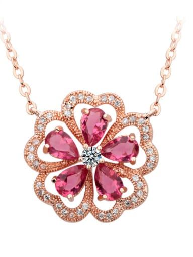 Copper inlay AAA zircon red corundum delicate flower necklace