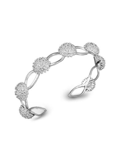 Fashion Flowery Silver Plated Copper Bracelet