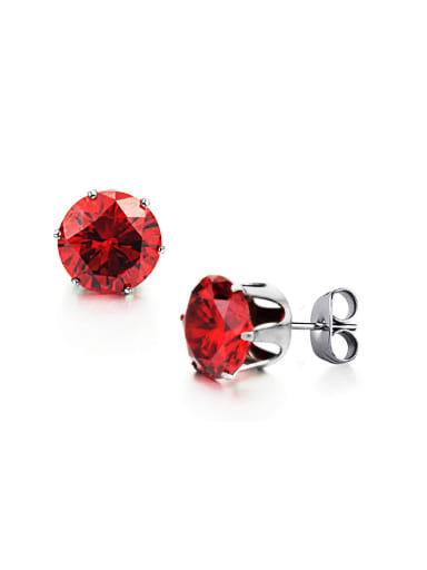 Simple Tiny Red Zircon Titanium Stud Earrings