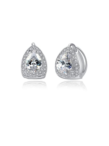 925 Sterling Silver With Platinum Plated Luxury Geometric Stud Earrings