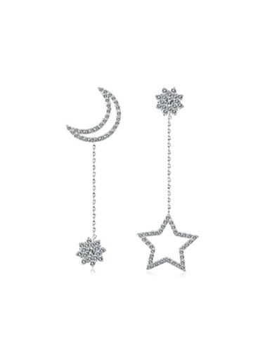Asymmetrical Moon Star Zircon Drop Earrings