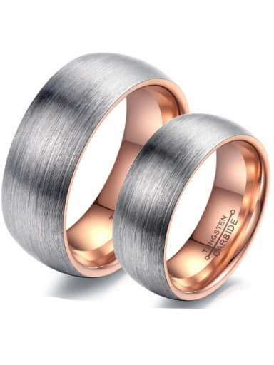 Tungsten With Rose Gold Plated Simplistic Geometric Rings