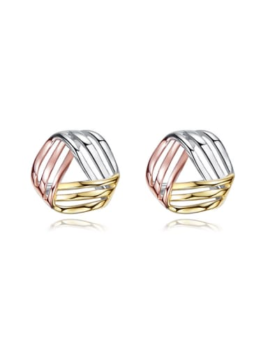 Tiny Triple Color Plated 925 Silver Triangle Stud Earrings