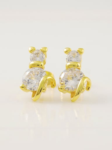 Creative 24K Gold Plated Animal Rhinestone Stud Earrings