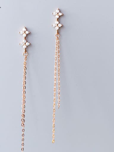 925 Sterling Silver With 18k Rose Gold Plated Delicate Chain Cubic Zirconia Earrings