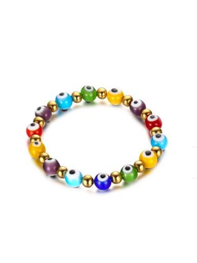Personality Eye Shaped Colorful Glass Beads Titanium Bracelet