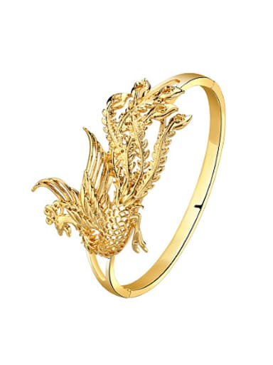 Copper Alloy 24k Gold Plated Classical Phoenix Bangle