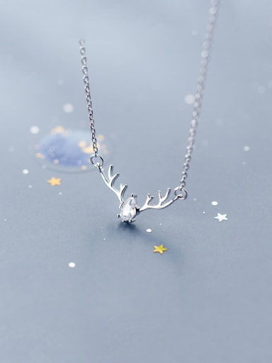 925 Sterling Silver With Cubic Zirconia Personality Antlers  Necklaces