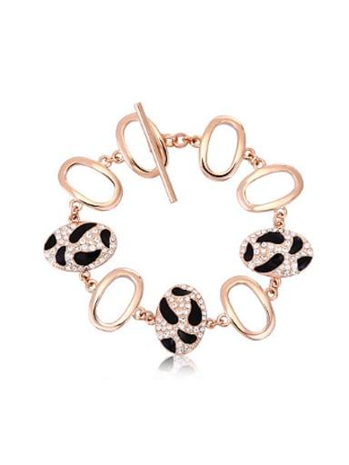 Personalized Ovals Leopard Print Bracelet