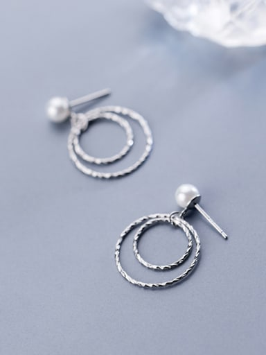 925 Sterling Silver Imitation pearls Classic Round Stud Earrings