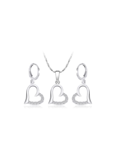 Copper Alloy White Gold Plated Fashion Love Two Pieces Zircon Jewelry Set