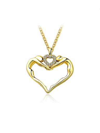 Charming Double Heart Shaped Rhinestones Necklace