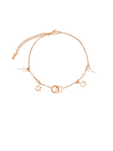 Titanium With Rose Gold Plated Fashion Six-Star Key   Anklets