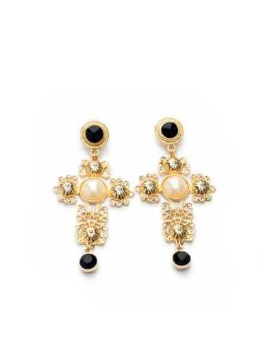 Personality Cross Artificial Stones Alloy Drop Chandelier earring