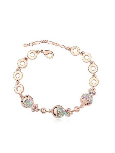 Fashion Tiny Swarovski Crystals Little Fish Alloy Bracelet
