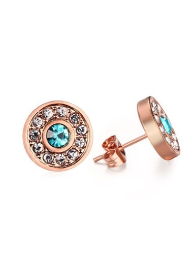 Trendy Rose Gold Plated Round Shaped Rhinestone Stud Earrings