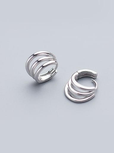 Simply Style Three Layer Design Round Shaped S925 Silver Clip Earrings