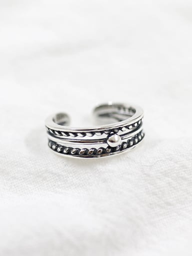 925 Sterling Silver With Antique Silver Plated Vintage hollow beads Free Size Rings