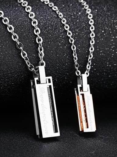 Fashion Rhinestone Rectangular Pendant Titanium Lovers Necklace