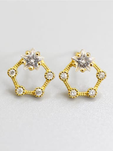 Fashion White Zirconias Hollow Five-pointed Star Silver Stud Earrings