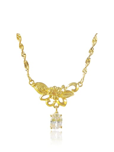 All-match 24K Gold Plated Flower Shaped Rhinestone Copper Necklace