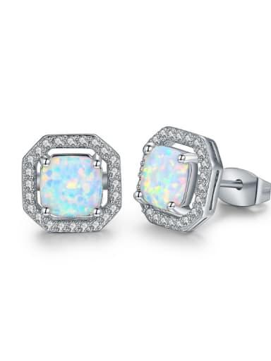 Geometric Shaped Opal Stones Classical Stud  Earrings