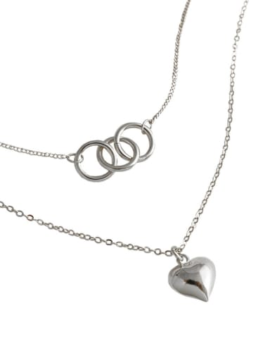 925 Sterling Silver With Glossy  Simplistic Geometric Ring Love Double Layer  Necklaces
