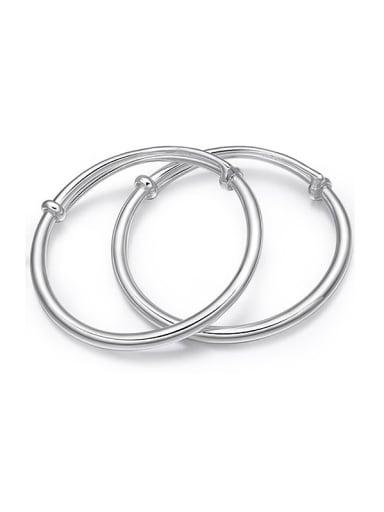 999 Silver Simple Polishing Adjustable Baby Bangles