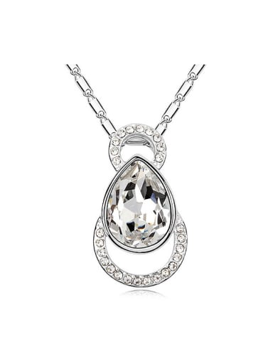 Simple Water Drop Swarovski Crystals Pendant Alloy Necklace
