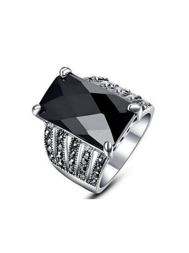 Fashion Black Resin Stone Rhinestones Alloy Ring