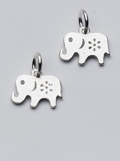 925 Sterling Silver With Silver Plated Cute Animal Elephant Charms