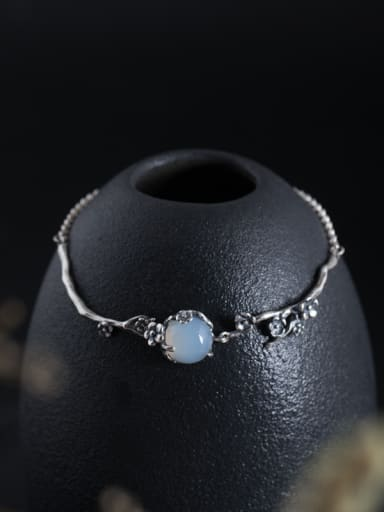 Retro style White Stone Tiny Flowers 925 Silver Bracelet