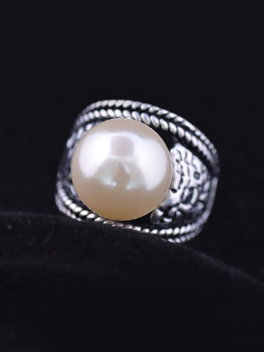 Retro style Artificial Pearl Antique Silver Plated Ring