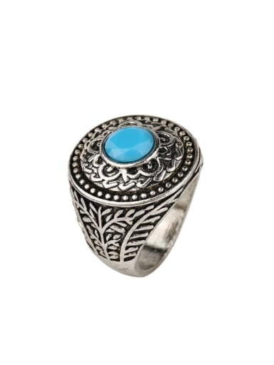 Ethnic style Blue Resin Antique Silver Plated Alloy Ring
