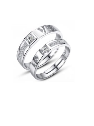 925 Sterling Silver With Cubic Zirconia Simplistic Monogrammed Love Free Size Rings