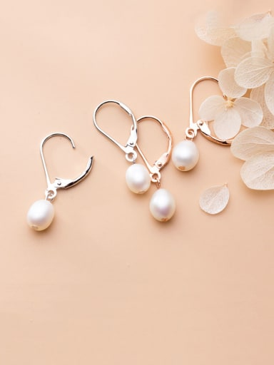 925 Sterling Silver With Artificial Pearl Simplistic Oval Clip On Earrings